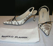 MANOLO BLAHNIK Leather SHOES Silver Strappy Lace Up Sandals Heels 40.5 10 1/2 10