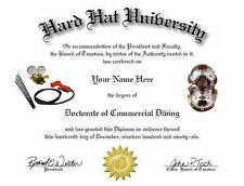 DOCTORATE OF COMMERCIAL DIVING NOVELTY DIPLOMA!