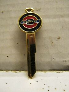 VINTAGE CHEVROLET AUTO CAR COLOR LOGO IGNITION CREST KEY UNCUT BLANK BRASS