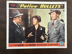 """Police Bullets 1942 Monogram 11x14"""" crime lobby card Ben Taggert Fern Emmett"""