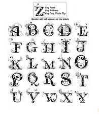 30 Return Address Labels Alphabet Monogram Floral Buy 3 get 1 free (Fl7)