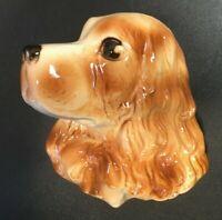 **Vintage ROYAL COPLEY BROWN COCKER SPANIEL DOG HEAD Planter Figurine Wall 1950s