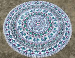 Green Floral Elephant Round Mandala Beach Towel Throw Tapestry Round Table Cover
