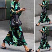 Belle Femme Dresse Robe Manche Longue Ample Loisir Casual en vrac Maxi Plus