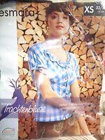 Damen Trachten-Bluse * Blau / Weiß  * XS 32/34 * Esmara * Neu * OVP