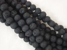 Lava Beads Matte Black 10mm Roundish Beads 35cm Strand Jewellery FREE POSTAGE