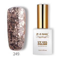 RS Nail UV Gel Polish LED Sequined Varnish Soak Off Glitter Colour 15ml New