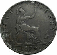 1874 UK Great Britain United Kingdom QUEEN VICTORIA Genuine 1/2Penny Coin i79519