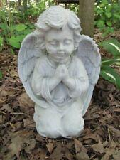 "Large 10 1/2"" Cement Praying Kneeling Girl Angel Cherub Concrete Statue"