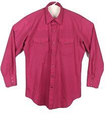 Vtg H Bar C Calif Ranchwear Western Snap Shirt Pink Mens Sz 16 3/4- 34 Large-XL