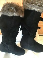 Ladies suede black flat boots brand new boxed by SDS U.K. 4