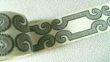 2.2 yds TRAVERS Velvet Scroll Embroidered Applique Border Passementerie Trim