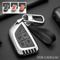 New Metal Leather Car Styling Key Fob Cover Chain Skin Case For Cadillac CT4 CT5