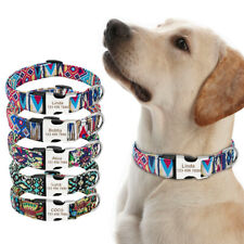 Personalized Dog Collar Floral Deisgn Laser Engraving Customized ID Name&Phone