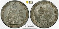 PCGS Peru 1895 TF 1 Un Sol Seated Liberty Silver Coin Nice Lustre AU55