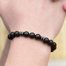Men's Black Tourmaline Matte Agate Stone Charm Yoga Beaded Energy Bracelets Gift
