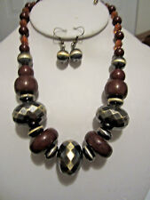 Bead Gradual Necklace Earring Set Brown Lucite And Faceted Brass