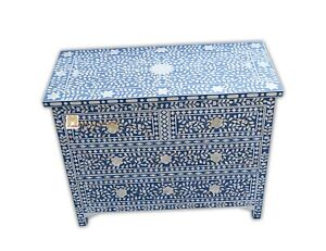 Chest of 4 drawers mother of pearl inlay floral design in blue color home decor