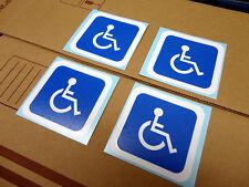 """Handicap Wheelchair Nursing bumper sticker, set of 4 (each is 2.7x2.7"""" Wht/blue)"""