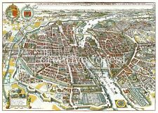 OLD MAP OF PARIS, FRANCE 1615 Vintage Map Repro Rolled CANVAS PRINT 32x24 in.