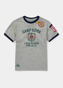 Polo Ralph Lauren Boys Camp Guide Patch Graphic T-Shirt Grey | XL 18-20, Mens S