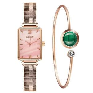 Women Quartz Casual Dress Fashion Rose Gold Watches Bracelet Set