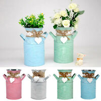 KE_ AU_ KF_ Round Cylindrical Flower Plant Pot Planter Iron Garden Living Room