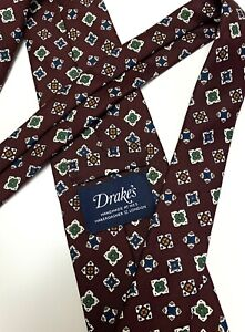 Drake's NWOT Maroon Geometric Floral 100% Silk Mens Neck Tie Made In England