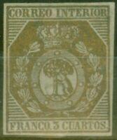 Spain 1853 3ch Bronze Edifil # 23 Very Fine & Very Fresh Unused  CV 19,000 Euros