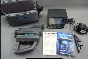 Vintage Fisher Price PXL 2000 Video Camera w Case Manual Cords & Mini TV EX/NM