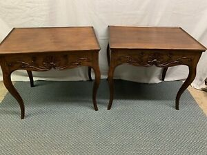 Vintage French Country Hand Carved  Distressed Walnut Wood Side End Tables Italy