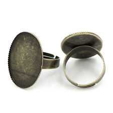 50 Bagues Réglable Support Cabochon Couleur Bronze 18.3mm B23862