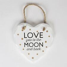 I LOVE YOU to the Moon E Indietro Cuore Bianco Placca da appendere CARTELLO con stelle d'oro
