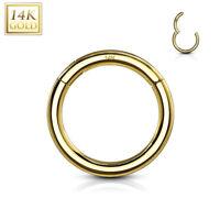 14K Solid GOLD Segment Captive Rings Ear Nose Nipple Lips Belly Snug Piercings
