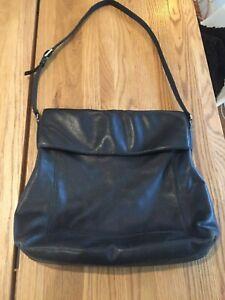 rare vintage DKNY butter soft genuine leather black messenger bag