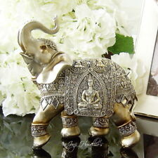 More details for buddha elephant gold silver ornament figurine statue jumbo lucky trunk up gift