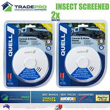 2x Smoke Alarm Fire Detector Quell® PRO Sealed Bug Screen Bonus 9V Caravan & RV