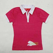 Puma Girl's Fucsia Short Sleeve Polo Cotton Tee 9-10 yrs Cool