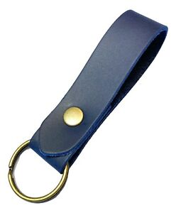 Leather Keyring / Key fob Blue Leather Antique Brass fittings key strap/fob