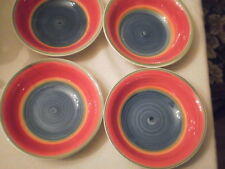 "4 ROYAL NORFOLK 7"" CEREAL SOUP BOWLS Striped Red Blue Green MAMBO1 HAS PAINT SC"