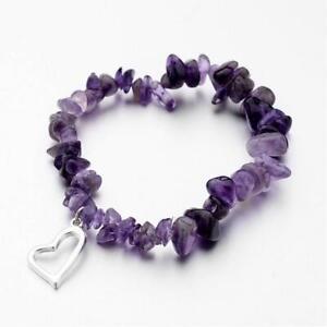 Amethyst Bracelet Ladies Women Heart Charm Bead Chip Reiki Healing Chakra UK