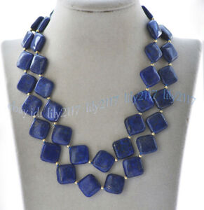 Fashion 12/14mm Square Natural Blue Lapis lazuli Gemstone Beads Necklace 18-56''