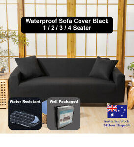 Sofa Cover Black Couch Covers 1 2 3 4 Seater Waterproof Lounge Slipcover Protect
