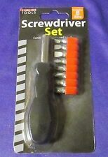 SCREWDRIVER SET WITH 8 INTERCHANGEABLE BITS - 5 PHILLIPS & 3 SLOTTED NIB
