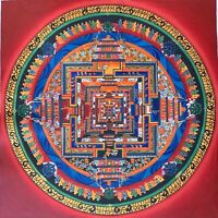 Hand-painted Kalachakra Mandala Tibetan Thangka Art on Canvas 12 x 12-Inch