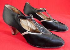 Vintage Frederick & Nelson Garside Ny Art Deco Black Silk Silver T-Strap Shoes
