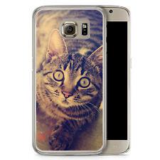 Samsung Galaxy S6 Hard Case Hülle - Schockierte Katze Foto Motiv Design Tiere L