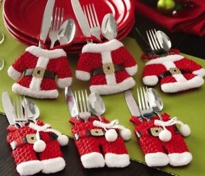 Christmas Table Decorations 2020 Red Santa Suits Cutlery Holders Novelty Gifts