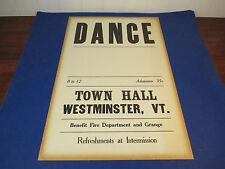 "Vintage 1930's Town Hall Dance Poster Unused Westminster Vt Original 12"" X 19"""