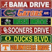 """NCAA College Street Sign Ave Drive 4""""x 24"""" - Pick Team"""